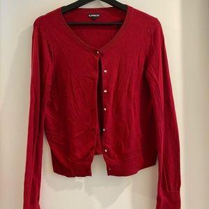 Red rhinestone button up cardigan